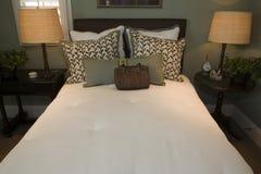 Modern luxury home bedroom. Stock Photos