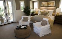 Modern luxury home bedroom. Stock Image