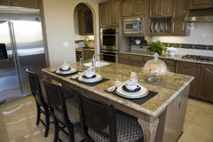 Modern luxury home kitchen. Royalty Free Stock Photo