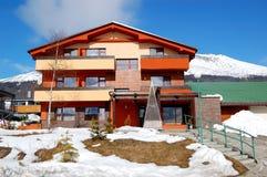Modern luxury hotel at ski resort Royalty Free Stock Images