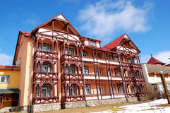 Modern luxury hotel at ski resort Stock Photo