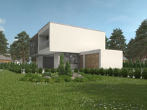Modern luxury house in a landscaped garden Royalty Free Stock Photos