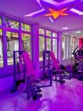 Modern luxury interior of gym with equipment stock photo