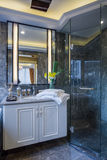 Modern luxury interior home design bathroom decoration villa. Article stock photography