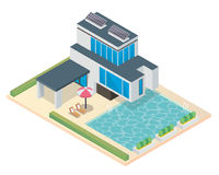 Modern Luxury Isometric Green Eco Friendly House With Solar Panel. Suitable for Diagrams, Infographics, Illustration, And Other Graphic Related Assets Stock Photo