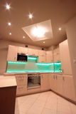 Modern luxury kitchen with green LED lighting Stock Photography