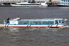 HUGO ABICHT. Modern luxury launch HUGO ABICHT of Rainer Abicht Elbreederei on Hamburg harbor sightseeing tour stock image