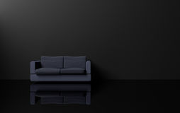 Modern and luxury minimalism style interior design with dark tone,dark blue sofa black wall and black shiny floor,3d rendering Royalty Free Stock Photos