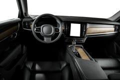 Modern luxury prestige car interior, dashboard, steering wheel. Black leather interior. Windows, clipping path included Stock Photos
