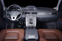 Modern luxury prestige car interior, dashboard, steering wheel. Black leather interior. Modern luxury prestige car interior, dashboard, steering wheel. Black Royalty Free Stock Photo