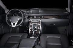 Modern luxury prestige car interior, dashboard, steering wheel. Black leather interior.  windows, clipping path included Royalty Free Stock Photo
