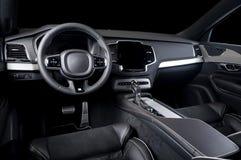 Modern luxury prestige car interior, dashboard, steering wheel. Black leather interior.  windows, clipping path included Royalty Free Stock Photos