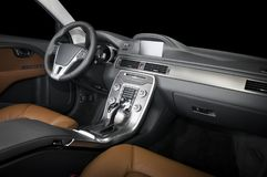 Modern luxury prestige car interior, dashboard, steering wheel. Black and red leather interior.  windows, clipping path included Stock Images