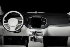 Modern luxury prestige car interior, dashboard, steering wheel. Black and white leather interior. Isolated windows, clipping path included Stock Photography