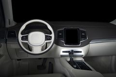 Modern luxury prestige car interior, dashboard, steering wheel. White leather interior.  windows, clipping path included Royalty Free Stock Photo