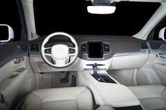 Modern luxury prestige car interior, dashboard, wood panels, steering wheel. Modern luxury prestige car interior, dashboard, steering wheel. Black and white Stock Photography