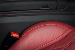 Modern luxury race car red leather interior. Stock Photos