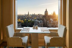 Modern luxury restaurant interior with romantic sence Amsterdam Stock Photos