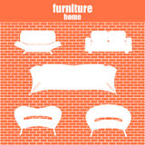 Modern luxury sofas and couches furniture icons set for living r Stock Images