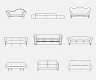 Modern luxury sofas and couches furniture icons set for living room vector illustration. Stock Images