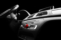 Modern Luxury sport car inside. Interior of prestige car. Black Leather. Car detailing. Dashboard. Media, climate and navigation c. Ontrol buttons. Sound system royalty free stock photography