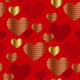 Modern luxury Valentines Day seamless pattern. Festive abstract background with gold and red hearts for cards, banner, posters, wallpapers, textile, fabrics Vector Illustration
