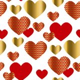 Modern luxury Valentines Day seamless pattern. Festive abstract background with gold and red hearts for cards, banner, posters, wallpapers, textile, fabrics Stock Illustration