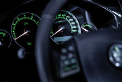 Modern luxury vehicel  dashboard lights. Stock Photography