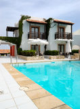 Modern luxury villa with swimming pool. At luxury hotel, Crete, Greece stock images