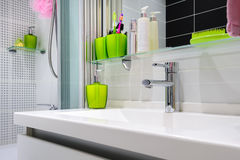 Modern luxury white bathroom interior Stock Image