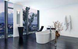 Modern modern lyxig badruminre Royaltyfria Bilder
