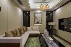 Modern lyxig garnering för vardagsrum för inrehemdesign fotografering för bildbyråer