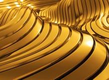 modern lyxig guld- bakgrund för våg 3D Arkivfoto