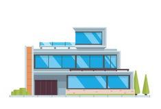 Modern lyxig modern illustration för husbyggnad stock illustrationer