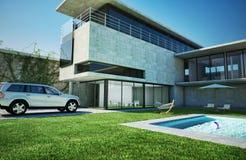 Modern lyxig villa med simbassängen. Arkivbild