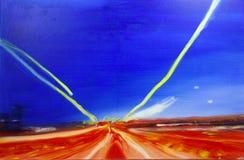 Modern modern måla huvudvägrörelse för abstrakt olja arkivbild