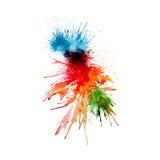 Modern målning - abstrakt vattenfärgbakgrund - färgstänk, droppar på papper eller kanfas, royaltyfri illustrationer
