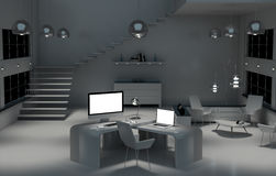 Modern mörk skrivbordkontorsinre med den beträffande datoren och apparater 3D Royaltyfri Foto