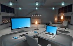 Modern mörk skrivbordkontorsinre med den beträffande datoren och apparater 3D Arkivfoto