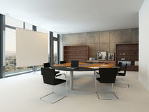 Modern mötesrum med konferenstabellen Royaltyfri Fotografi