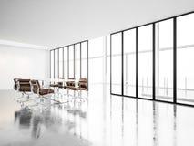 Modern mötesrum med panorama- fönster 3d Royaltyfri Bild