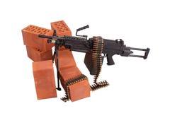 Modern machine gun on position Stock Photo