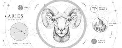 Free Modern Magic Witchcraft Card With Astrology Aries Zodiac Sign. Realistic Hand Drawing Ram Or Mouflon Head. Stock Image - 179939981
