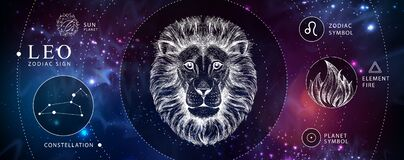 Free Modern Magic Witchcraft Card With Astrology Leo Zodiac Sign. Realistic Hand Drawing Lion Head. Zodiac Characteristic Royalty Free Stock Images - 180352559