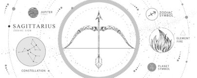 Free Modern Magic Witchcraft Card With Astrology Sagittarius Zodiac Sign. Realistic Hand Drawing Bow And Arrow Illustration. Zodiac Stock Images - 179939974