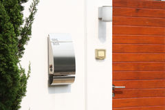 Modern mail box. In front of a house Royalty Free Stock Photo