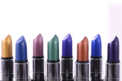 Modern makeup lipstick color range. Royalty Free Stock Photography
