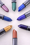 Modern makeup lipstick color range. Royalty Free Stock Photo