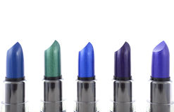 Modern makeup lipstick color range. Royalty Free Stock Photos