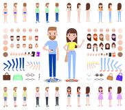 Modern Male and Female Characters Constructors. Male and female characters constructors that include spare body parts, modern clothes and accessories vector royalty free illustration